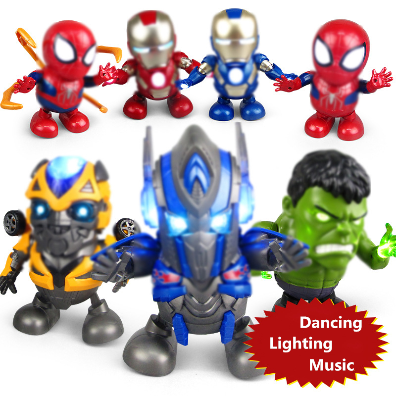 Plastic Dancing LED Flashlight Lighting Superman Sound Music Robot Super Hero Electronic Dance Walking Toy