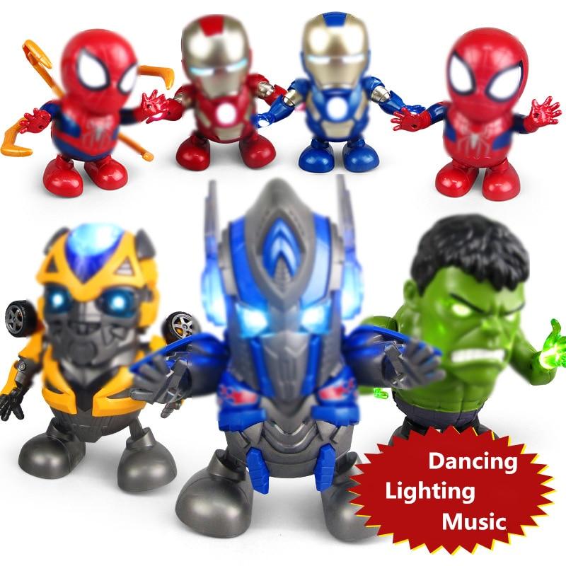 Plastic Dancing LED Flashlight Lighting Superman Sound Music Robot Super Hero Electronic Dance Walking Toy