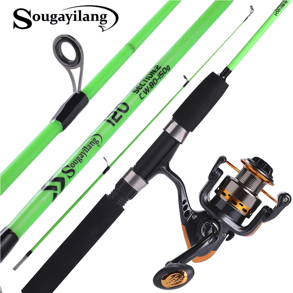 Sougayilang 120cm Spinning Fishing Rod With Spinning Reel Ultralight ABS Resin Body Travel Boat Rod Fishing Rod Combo Pesca