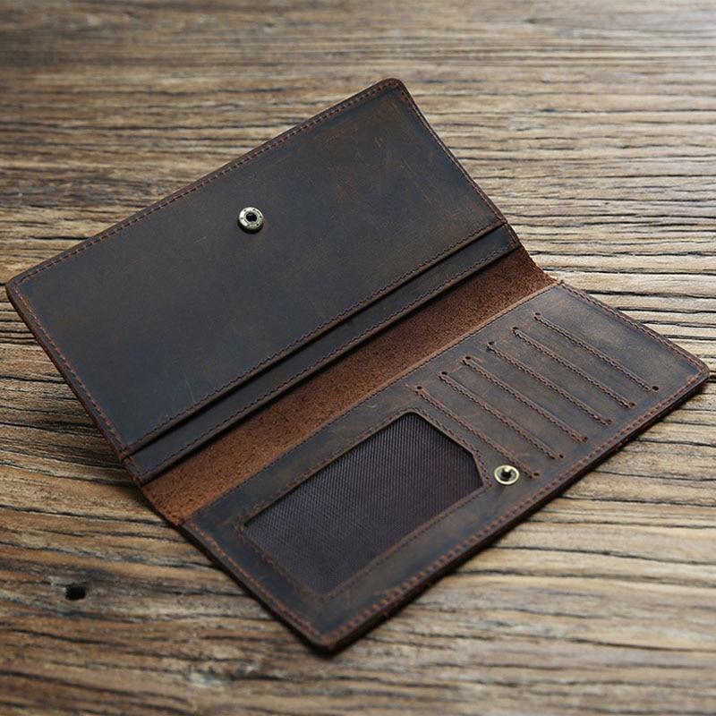 Image 5 - Thin Simple Money Clip for Men Crazy Horse Genuine Leather Holders for Checkbooks Vintage Leather Long Wallets Slim BillfoldWallets   -