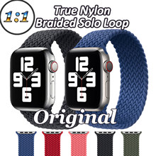 Laço solo trançado náilon para apple watch 6 5 4 se alça de náilon para iwatch série 3 2 1 conector de alta qualidade 38mm 42mm 40mm 44mm