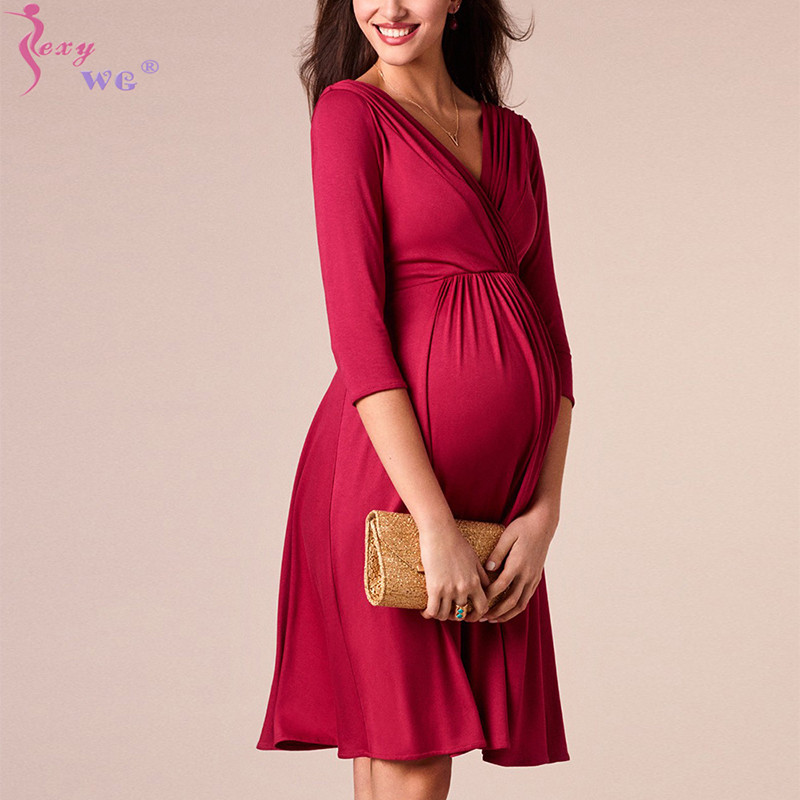SEXYWG Women Elegant Cocktail Sexy Mom Maternity Dress Breastfeeding Casual V Neck Modal Baby Shower Dress Pregnant Formal