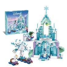 Disney Frozen The Elsa Magical Ice Castle Set Princess Anna impilabile Building Blocks mattoni giocattolo compatibile Disney Frozen2 Blocks