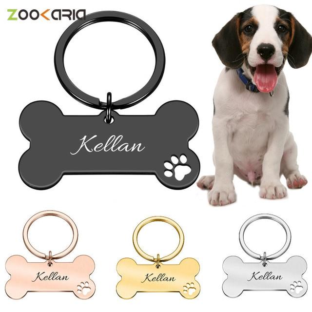 Colar personalizado pet id tag gravado animal de estimação id nome para gato filhote de cachorro cão tag pingente chaveiro osso acessórios para animais de estimação 1