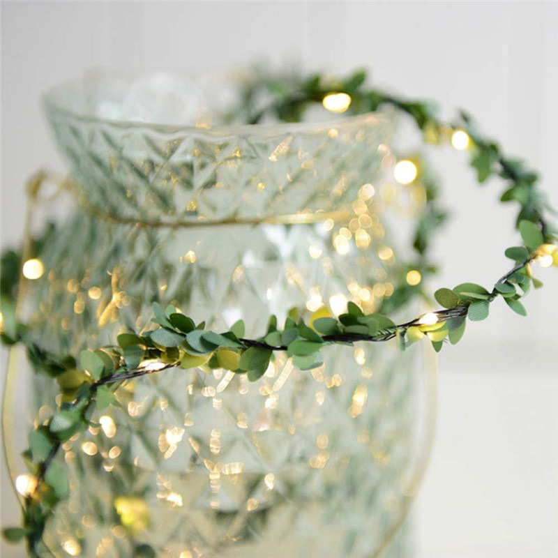 2M 3M 5M 10M Leds Tiny Leaves Garland Fairy Light LED Copper Wire Battery String Lights For Wedding Christmas Party Home Decor
