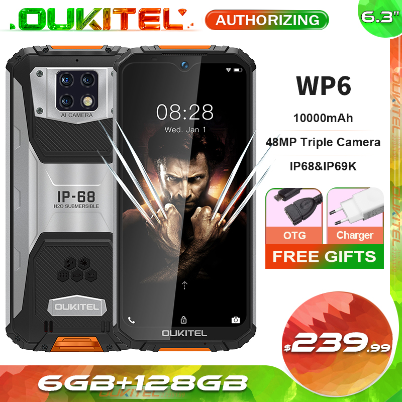 OUKITEL WP6 10000mah 128GB 6GB Adaptive Fast Charge Octa Core Face Recognition/fingerprint Recognition