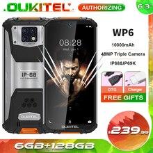OUKITEL WP6 10000mAh 6.3 FHD + IP68 Wasserdichte Handy 6GB 128GB Octa Core 48MP Triple kameras Robuste Smartphone