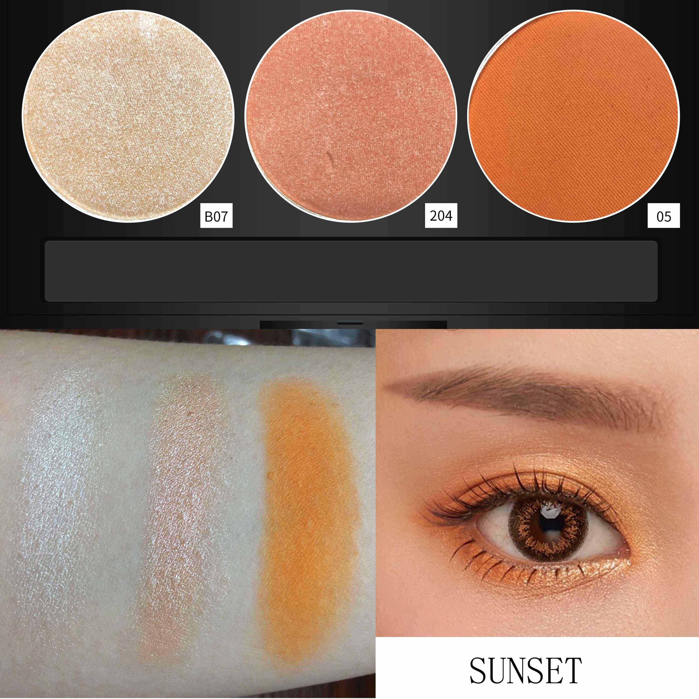 11.11 สี Salon Charming INS Sunset อายแชโดว์ Palette Matte Shimmer Pigment แต่งหน้ายาวนานสีส้มสาวเครื่องสำอาง