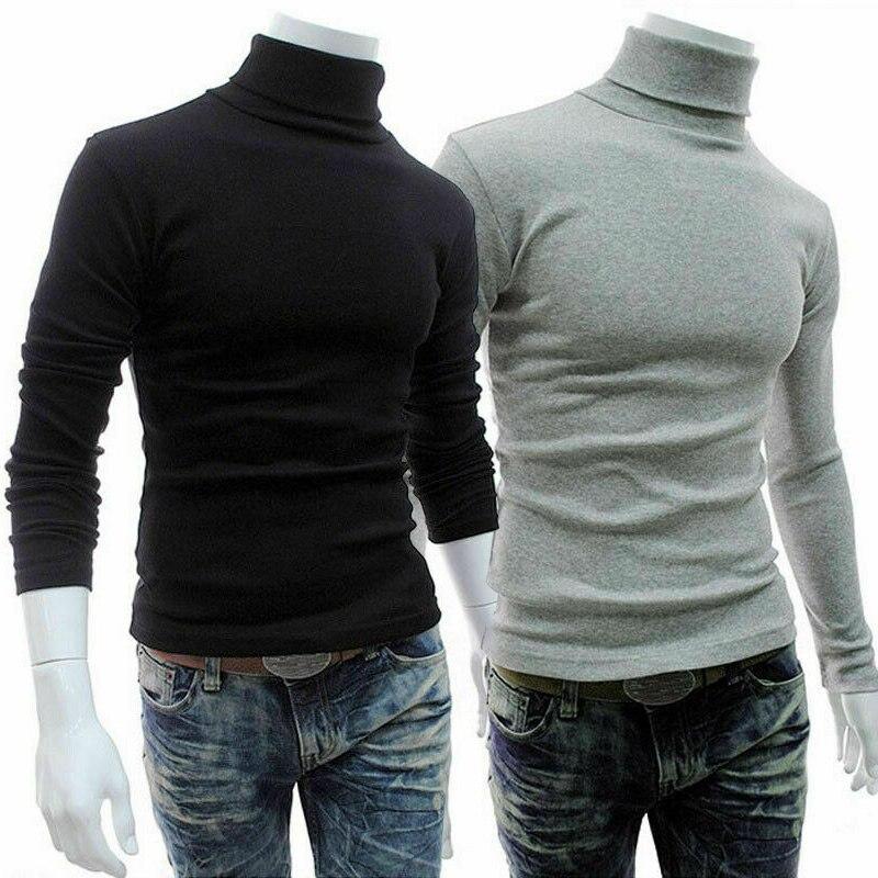 Men Long Sleeve Pullover High Neck Turtleneck Stretch Slim Basic T Shirt Tee Top Knitwear SSA-19ING
