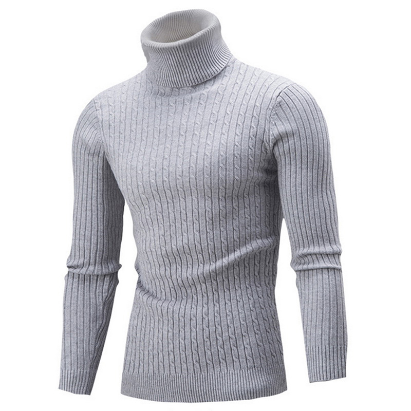 Autumn Quality Warm Turtleneck Sweater Men 2019 Fashion Solid Knitted Thicken Mens Sweaters Casual Slim Fit Pullover Male Tops