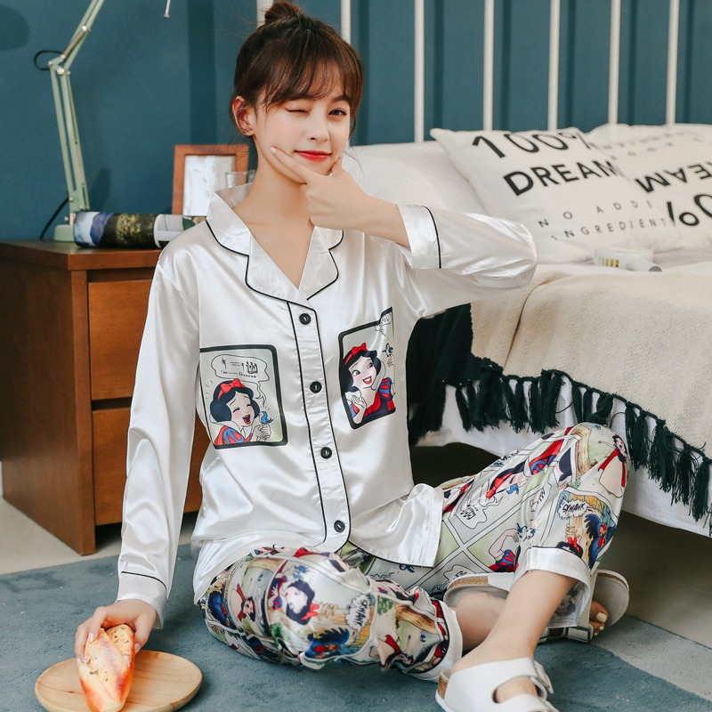 2020 Summer Autumn Silk Satin Comic Print Pajama Sets For Women Long Sleeve Sleepwear Suit Pyjamas Homewear Pijama Mujer Clothes
