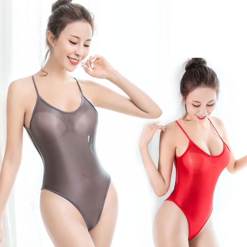 Sexy Women Shiny Gloosy High Cut Bodysuit Ice Silk Shaper Bodysuit Sheer Backless Stage Dance Wear Thong Leotard Sexy Tight F14