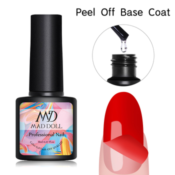 MAD DOLL 8ml Nail Gel Peel Off Gel Base Coat Tempered Top Coat Enhance Long Lasting Soak Off Base Coat Nail Art UV Gel Polish