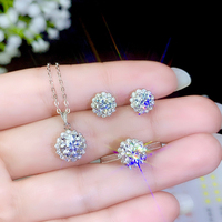 BOEYCJR 925 Silver 0.5/1ct F color Moissanite VVS Fine Jewelry Diamond Necklace Ring Earings Jewelry Set for Women Gift