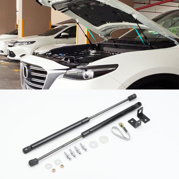 For Mazda CX-9 2016-2019 Bonnet Hood Gas Struts Shock Struts Lift Supports stainless steel black 2pcs