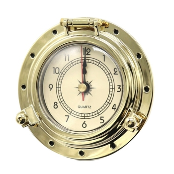 Vintage quartz watch copper metal temperature and humidity meter pressure gauge yacht boat car decoration clock home decoration