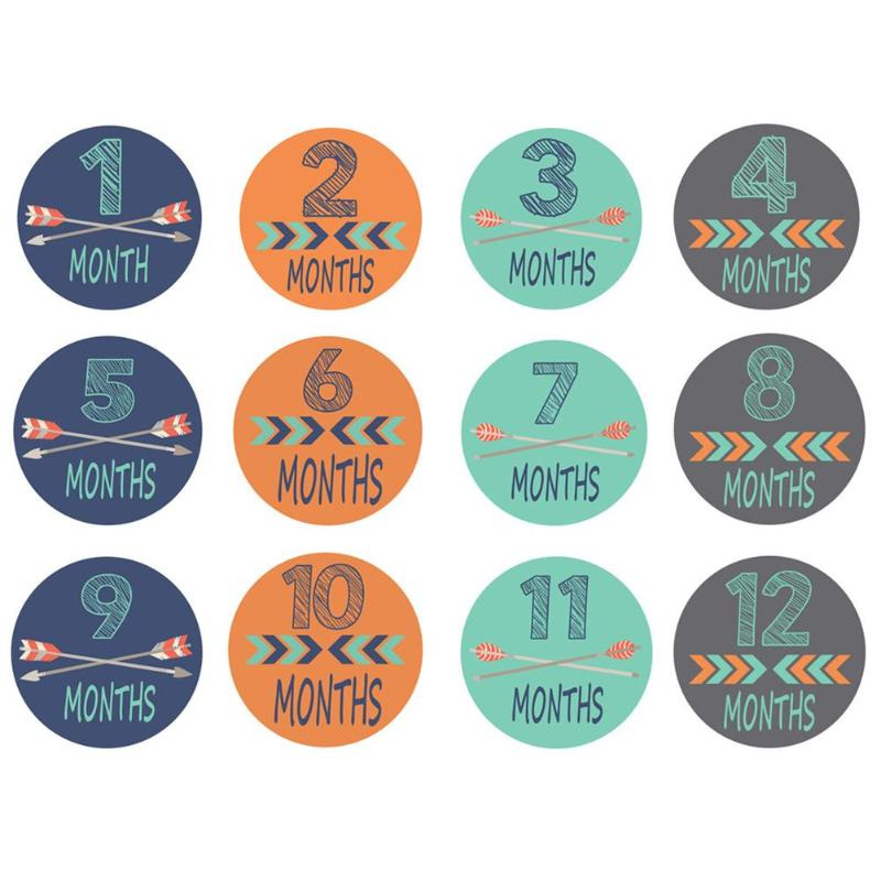 12pcs Month Stickers Photography Props For Newborn Baby Pregnant Woman With Four Styles Of Pattern Design Unique Feature