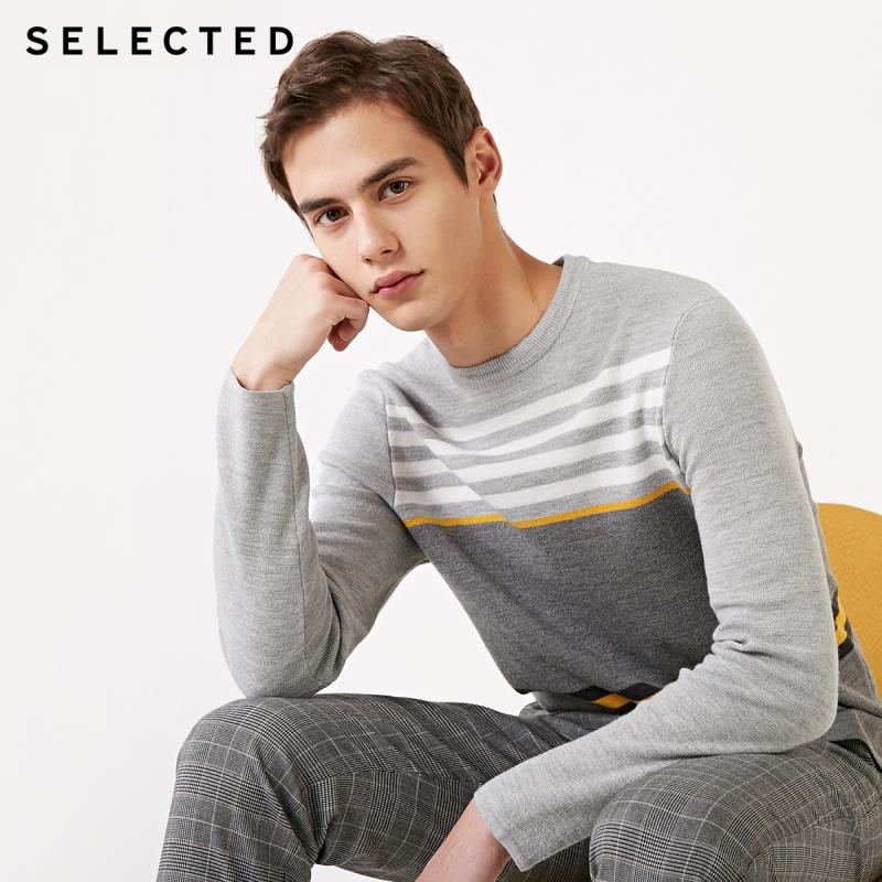 SELECTED Wool Striped Assorted Colors Knitted Men's Autumn O-Neck Pullover Sweater S | 419124542
