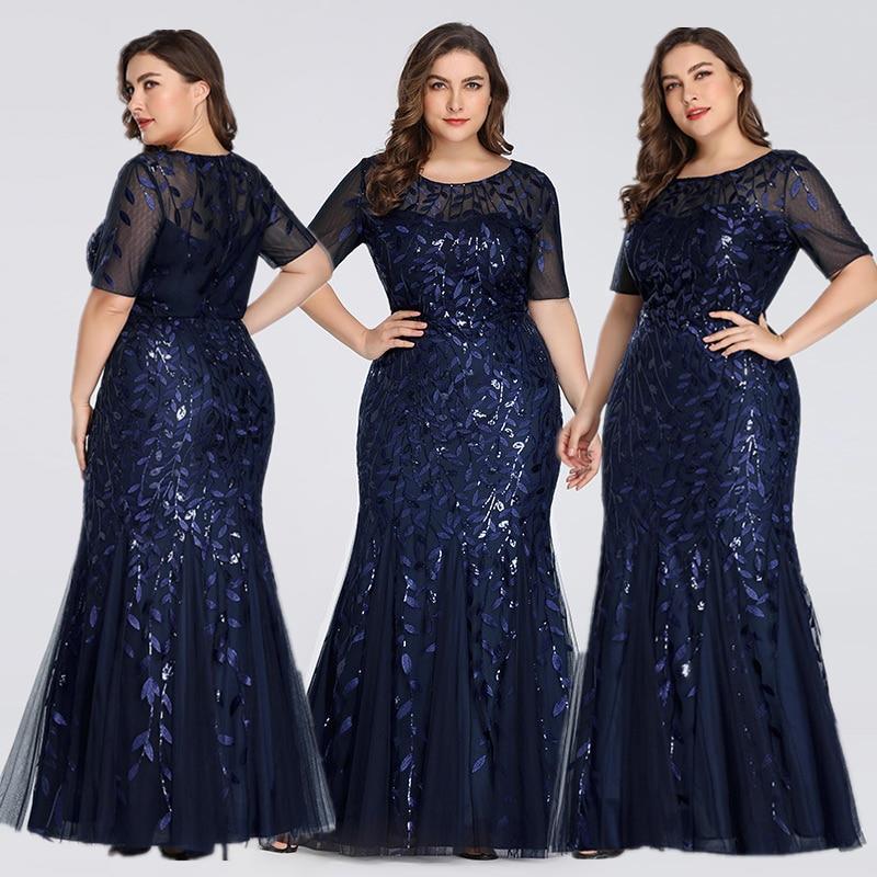 Queen Abby Вечерние платья Русалка с блестками Кружева Аппликации Элегантное Длинное платье русалки платье вечерние платья размера плюс - Цвет: Navy Blue1