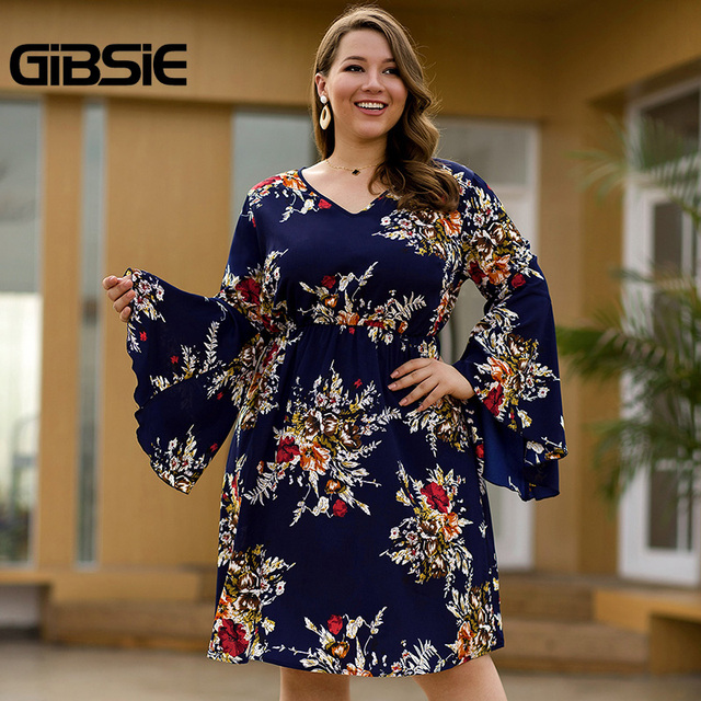 GIBSIE Flare Long Sleeve V-neck Tunic Women Dress Autumn Floral Print High Waist Casual Plus Size Knee Length Mid A-line Dress 1