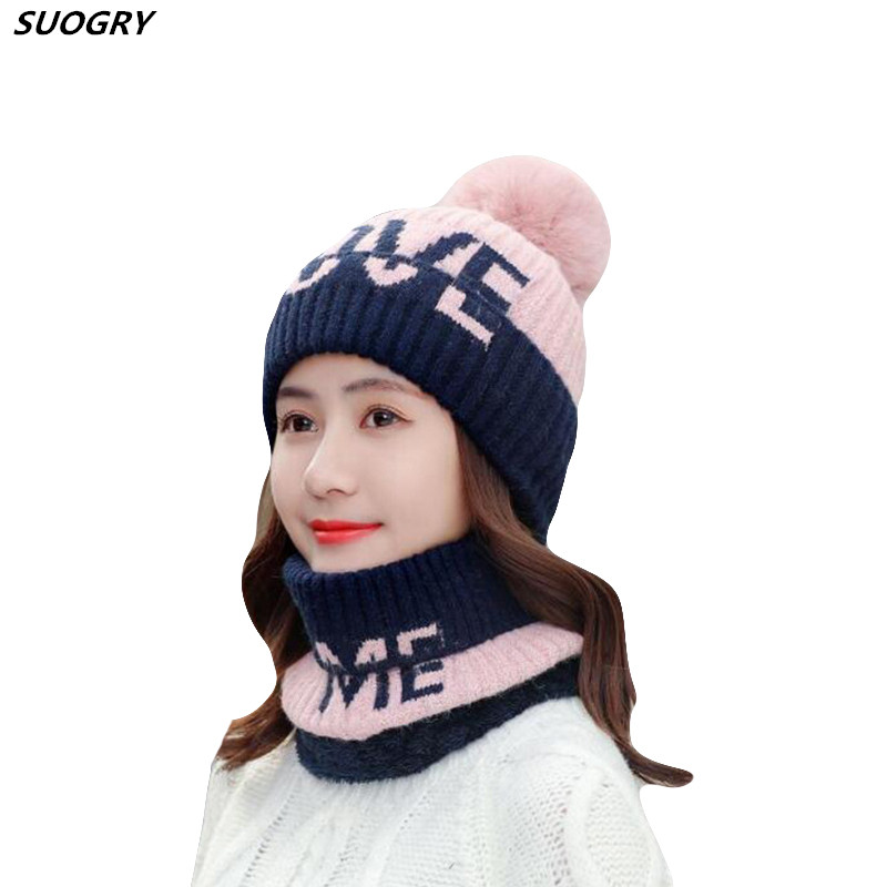 SUOGRY Winter Women Hat Scarf Set Sweet Letter Love Warm Knitted Hats Caps For Girls Skullies Beanies Hat With Pom Pom Female