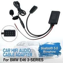 AUX автомобильный аудио bluetooth 5,0 музыкальный Hi-Fi кабель адаптер микрофон для BMW E46 3-SERIES 2002-2006
