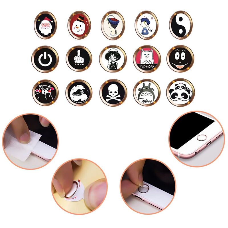 Cartoon nette Home Button Aufkleber Für <font><b>iPhone</b></font> 5 5S <font><b>6</b></font> 6S 7 8 Plus Für Ipad air 2 mini <font><b>Fingerprint</b></font> Identifikation Tastatur image
