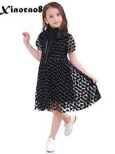 Girl dress summer short sleeve black lace dresses for girls 6~16 Years kids korean style pirncess dress children girls clothing недорого