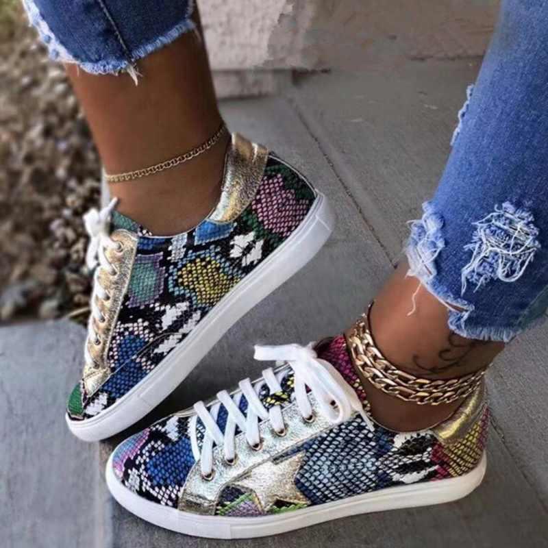 ฤดูใบไม้ผลิผู้หญิงรองเท้าผ้าใบ Lace Up PU Glitter รองเท้า Vulcanized รองเท้าแฟชั่นงูแพลตฟอร์มรองเท้าผู้หญิงเดินรองเท้า 2020