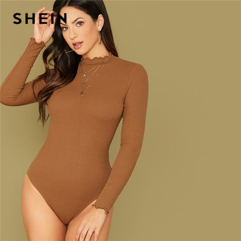 SHEIN Camel Lettuce Edge Rib-knit Fitted Bodysuit Women Long Sleeve Stand Collar Autumn Solid Skinny Elegant Bodysuits 1