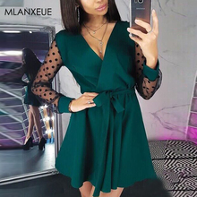 Sexy V-Neck Patchwork Lace Dress Women Fashion Slim Perspective Mesh Dr