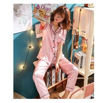Women Pajamas Set Sleepwear Winter Long Sleeve Mujer Pijamas Nuisette Sexy Lingerie Nightwear Silk Satin Pyjamas pjs Suit 2Pcs 22