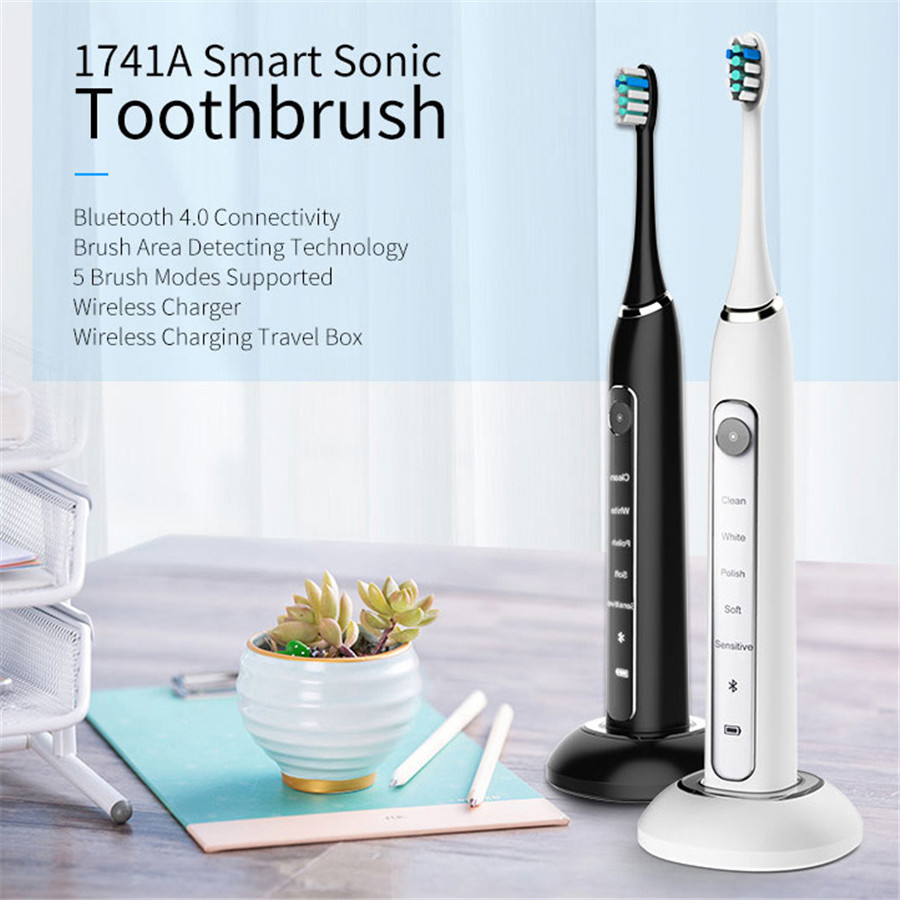 Gustala Smart 5 Modes Sonic Electric Toothbrush USB Rechargeable Waterproof Ultrasonic Automatic With APP Intelligent Tracking image