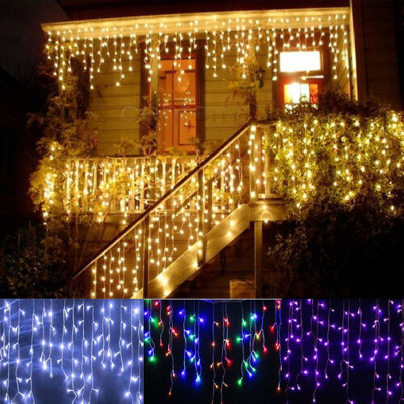 Christmas Lights New Year's LED Curtain Garland On The Window 3.5M Droop Fairy Lights For Street Garland Christmas Decoration
