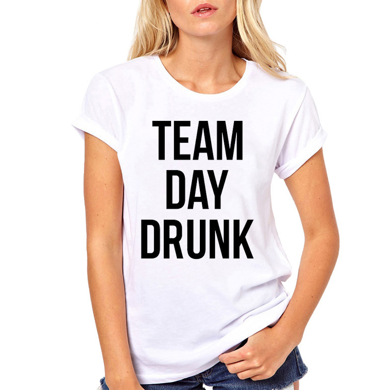 Women Clothes Team Day Drunk Letters Letters Beer Wine Summer Print Ladies Woman Harajuku Punk Top Tee Shirt T Female T-shirt