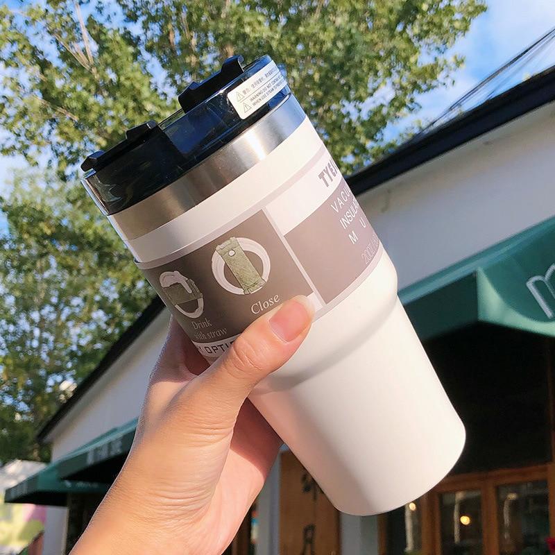 Nouvelle tasse de café de voyage de tasse de Thermo dacier inoxydable avec la bouteille de Thermos de personnalité portative de capacité élevée de paille pour les filles dhommes