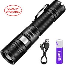 Supfire A2 Zoomable Tactical Flashlight 950 Lumens Super Bright Water-Proof Torch USB Rechargeabl 5 Modes