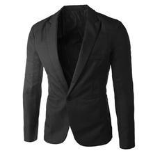 Men Fit Solid Color Long Sleeve Lapel One Button Pocket Blazer Slim Suit Coat