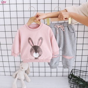 LZH 2020 New Autumn Baby Girls Casual Outfits Set Cute Cartoon Printting Long Sleeved Pullover Tops+Sports Trousers 2Pcs Set