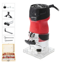 6 Speed 2200W 5000 -35000rpm Woodworking Electric Trimmer Wood Milling Engraving Slotting Trimming Hand Carving Machine Router cheap JOUSTMAX 60Hz 6 35mm 220V 1850W Electric Hand Trimmer Router Home DIY Aluminum alloy 5000rpm-35000rpm about 1 4m 220V(EU Plug)