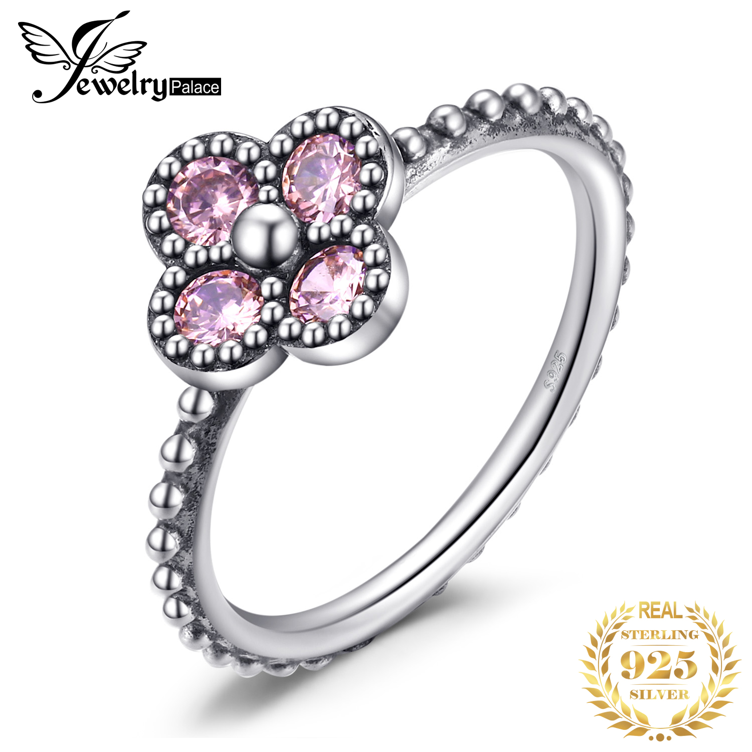 Jewelrypalace 925 Sterling Silver Rings Glitter Pink Murano Glass Flora Coctail Rings Flower Unique Fashion Jewelry Women Gifts