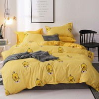 Dream NS Bedding Yellow Duck Set Cartoon Endless Personality Geometric Home King Queen Polyester Cotton Clean Bedding Set