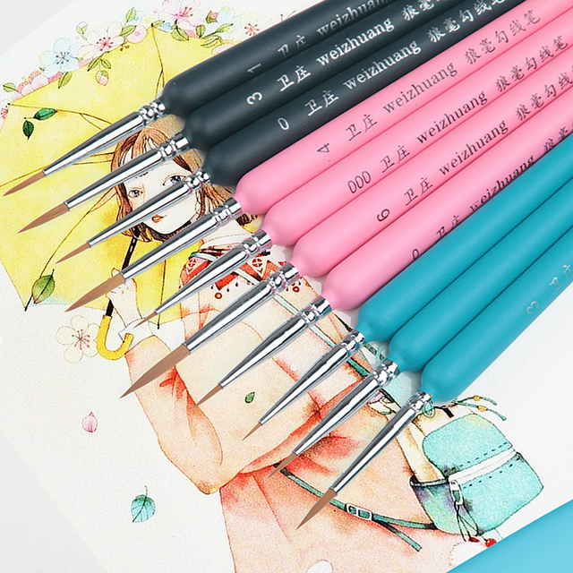 10Pcs וו קו צבע מברשות וולף שיער בצבעי מים מברשת אמן בסדר שמן מכחול עבור אמנות גואש ספר מכתבים