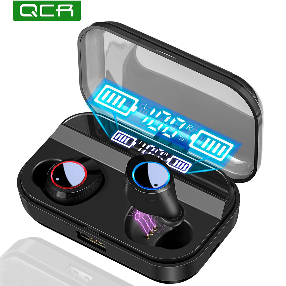 QCR TWS Wireless Earphone Bluetooth 5.0 Earphones Power Display Touch Control Sport Stereo Cordless Earbuds Headset Charging Box luces led de policía