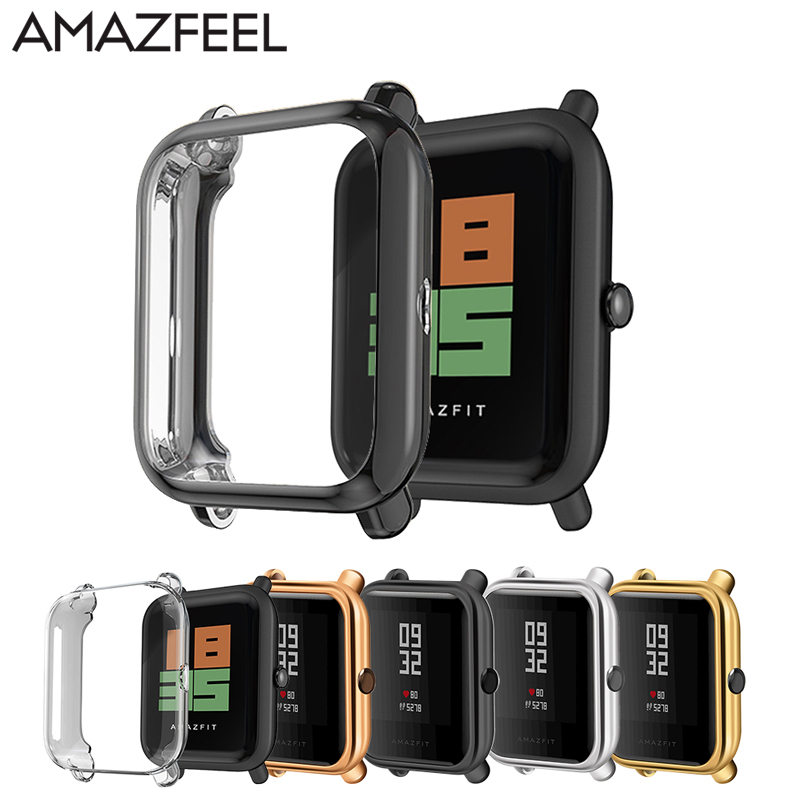 For Amazfit Bip Case With Screen Protector Film TPU Plating Smart Watch Protective Case For Huami Amazfit Bip Watch Accessories