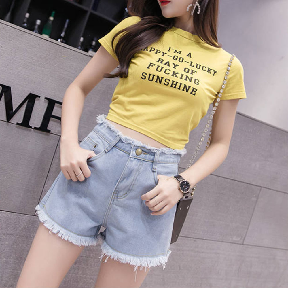 Women's Denim Shorts Summer Shorts Jeans For Women Girl's Wide Leg Ladies Elastic Waist Loose High Waist Shorts Jeans Female