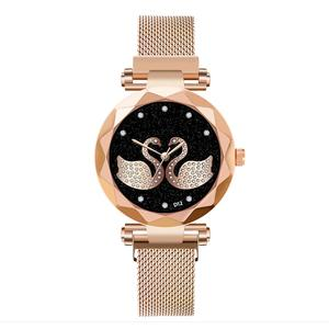 Fashion Luxury Stainless Steel Bracelet Women Watches Round Diamond swan Dial Quartz Wristwatches Dress Clock reloj mujer XB40(China)