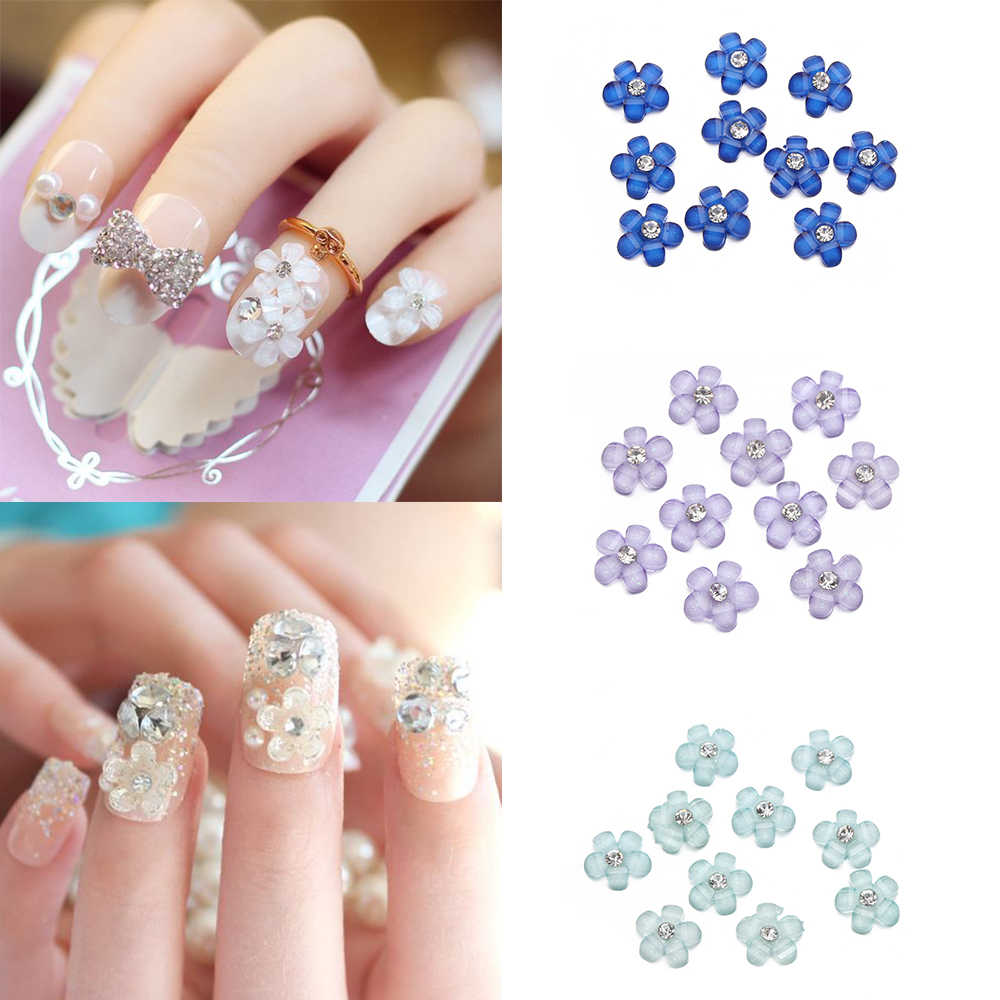 10PC/Pack 5Colors 3D Flower Design Nail Art Decorations Charms Nails Glitter Rhinestones Nail Supplies Tools Jewelry Decoration