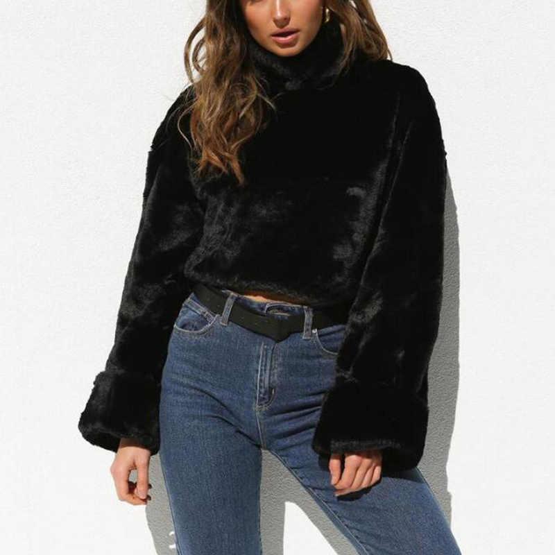 Jerseys blancos de felpa de invierno de cuello alto para mujeres de Otoño de manga larga abrigo de piel sintética cálido suelto Casual sobretodo de gran tamaño Pull Femme