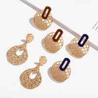 PZMYCS vintage creative geometric hollow round stud earrings for women korean fashion elegant metal earrings jewelry accessories